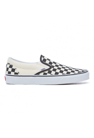 VANS CHECKERBOARD CLASSIC SLIP-ON SHOES (Black and White Checker/White)