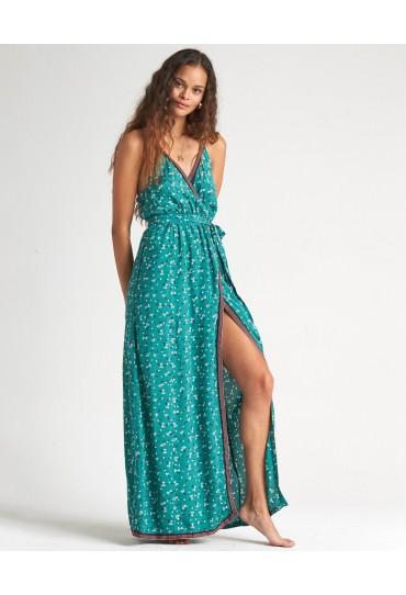 Billabong Soft Seas - Printed Maxi Dress for Women (Emerald Bay)