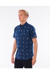 RipCurl Summer Palm Short Sleeve Shirt (Navy)