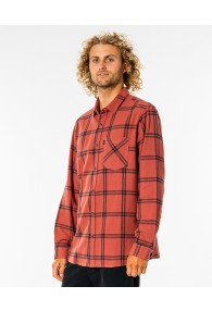 RipCurl Checked Out Long Sleeve Flannel Shirt (Red)