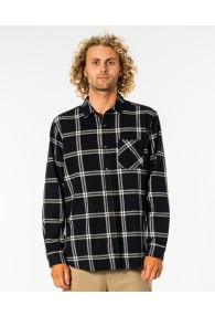 RipCurl Checked Out Long Sleeve Flannel Shirt (Black)